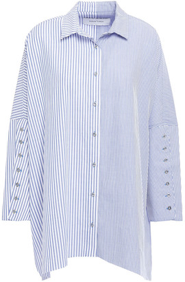 Marques Almeida Asymmetric Button-embroidered Striped Cotton-poplin Shirt