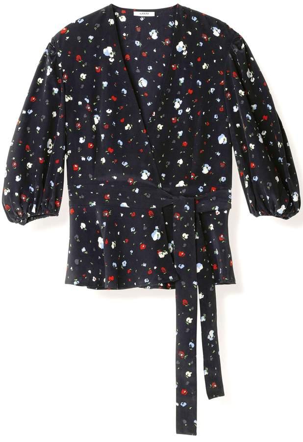 Ganni Nolana Silk Wrap Top in Black