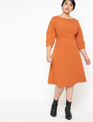 ELOQUII A-Line Lantern Sleeve Dress