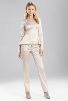 Josie Natori Stretch Embossed Crocodile Long Sleeve Top