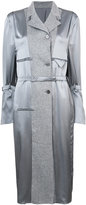 Thom Browne Reconstructed Overcoat Lining Dress In Grey Silk Charmeuse
