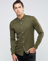 Asos Skinny Shirt In Khaki Twill With Long Sleeves