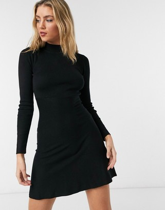 Girl In Mind high neck knitted skater dress in black
