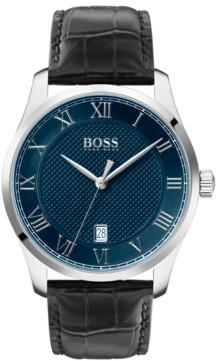 BOSS Men's Master Black Leather Strap Watch 41mm