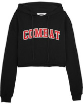 MSGM Cropped Printed Cotton-terry Hooded Top - Black