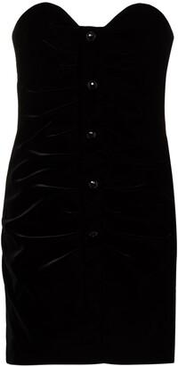 Saint Laurent Strapless Velvet Mini Dress