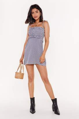 Nasty Gal Womens Check Your Self Gingham Ruched Mini Dress - blue - 14