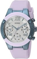GUESS GUESS? Women's Quartz Stainless Steel and Silicone Casual Watch, Color:Purple (Model: U0958L2)