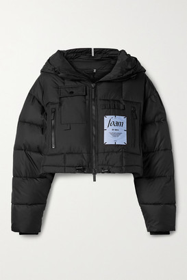 McQ Festival Cropped Hooded Appliqued Quilted Shell Jacket - Black