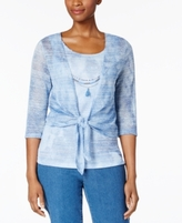 Alfred Dunner Petite Indigo Girls Layered-Look Blouse