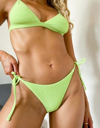 Topshop crinkle hi-cut bikini bottoms with tie in bright green