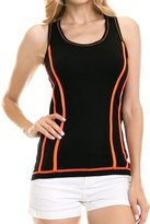 Expert Design Women's Solid Piping Contrast Racer Back Activewear Tank Top - Workout Gym Yoga - L/XL