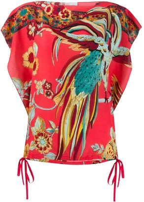 RED Valentino Bird Of Paradise Print Boxy Blouse