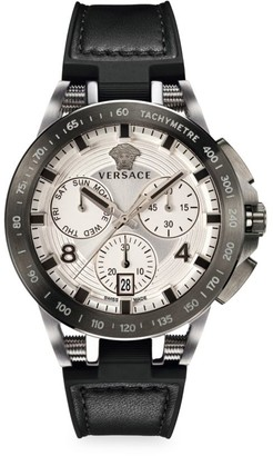 Versace Sport Tech Stainless Steel Leather & Rubber Strap Watch
