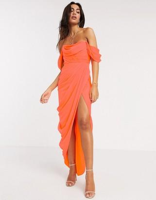 ASOS DESIGN soft layered bandeau maxi dress with drape skirt