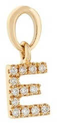Loquet London Diamond 18k yellow gold letter charm E