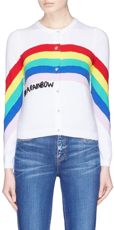 Alice + Olivia 'Ruthy' rainbow slogan embroidered cardigan