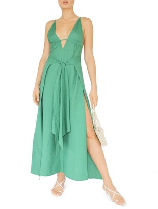 Cult Gaia Margot Plunging Linen Maxi Dress