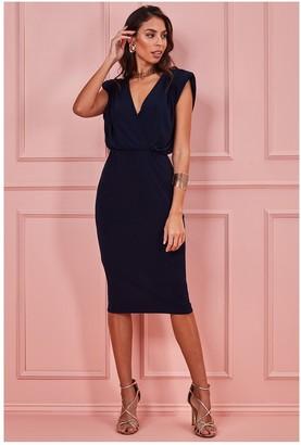 Goddiva Wrap Style Bodycon Midi Dress - Navy