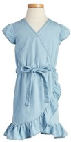 Girl's Bardot Junior Chambray Wrap Dress