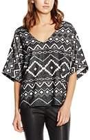 School Rag Women's Aztec Short Sleeve Vest - Black -