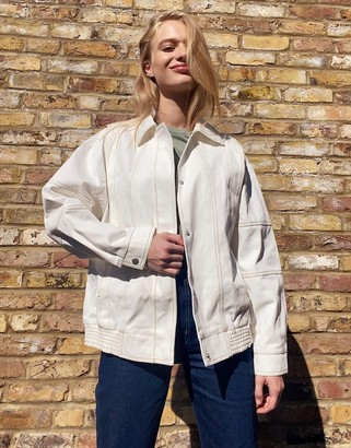 ASOS DESIGN 80s washed canvas jacket in cream