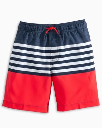 Southern Tide Boys USA Striped Swim Trunk