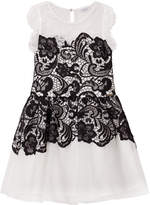 GUESS Black and White Lace and Tulle Party Dress