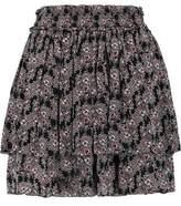 Derek Lam 10 Crosby Tiered Pleated Printed Silk Mini Skirt