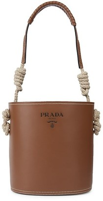 Prada City Leather Bucket Bag with Rope Detail