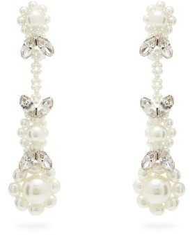 Simone Rocha Faux-pearl & Crystal Drop Earrings - Womens - Pearl