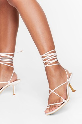 Nasty Gal Womens Tie to Pull It Toe-gether Faux Leather Kitten Heels - White