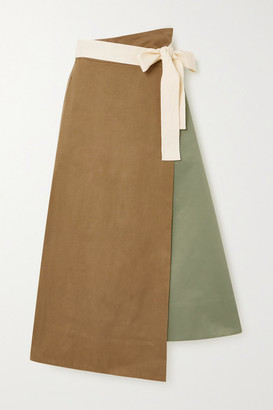 ARTCLUB + Net Sustain Rivetti Asymmetric Color-block Cotton Skirt - Army green