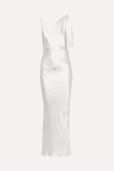 Deitas Louise Asymmetric Silk-satin Maxi Dress - Ivory