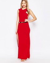 Honor Gold High Neck Belted Maxi Dress With Side Split