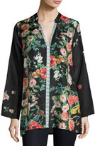 Johnny Was Houstein-Trim Floral-Print Silk Tunic