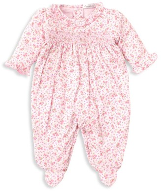 Kissy Kissy Baby Girl's Dusty Rose Smocked Print Footie