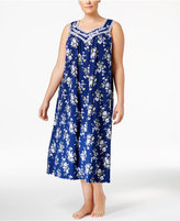 Charter Club Plus Size Lace-Trimmed Printed Nightgown, Only at Macy's