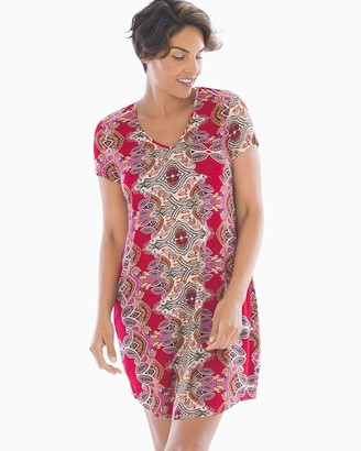 Soma Intimates Cool Nights Short Sleeve Sleepshirt Geometric Paisley