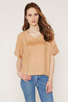 Forever 21 FOREVER 21+ Contemporary Fringed Trim V-Neck Top