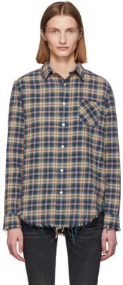 R 13 Blue and Khaki Shredded Seam Shirt