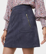 LOFT Faux Suede Zip Pocket Skirt