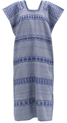 Pippa No. 216 Striped Embroidered Cotton Kaftan - Blue Print
