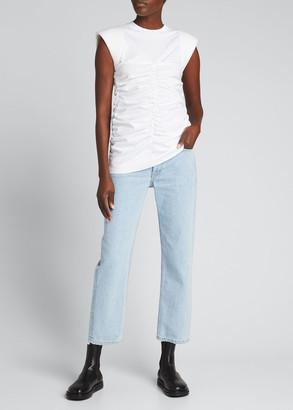 Ganni Cap-Sleeve Ruched Jersey T-Shirt