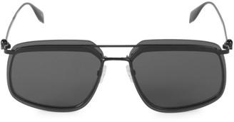 Alexander McQueen 64MM Browline Square Aviator Sunglasses