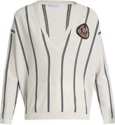 Brunello Cucinelli V-neck striped cashmere sweater