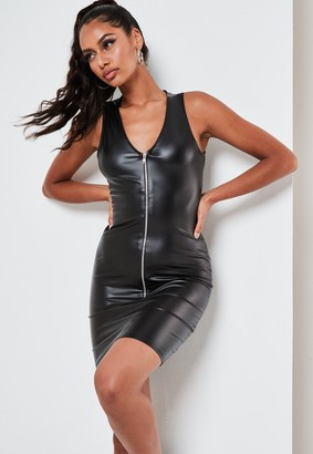 Missguided Black Faux Leather Zip Front Mini Dress