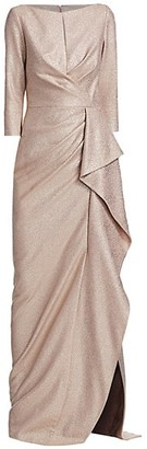 Teri Jon by Rickie Freeman Metallic Ruffle Gown