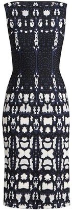 Alaia Abstract Leopard Print Knit Sheath Dress