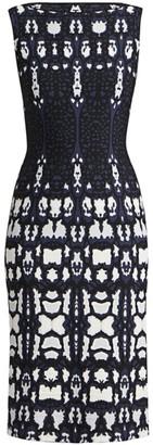 Alaia Abstract Leopard Print Knit Sheath Dress